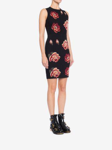 ALEXANDER MCQUEEN Rose Tapestry Mini knit Dress Mini Dress Woman d
