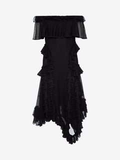 ALEXANDER MCQUEEN Mini Dress D Off the Shoulder lace knit Ruffle mini Dress f