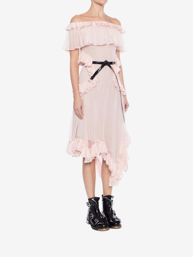 ALEXANDER MCQUEEN Off the Shoulder lace knit Ruffle mini Dress Mini Dress Woman d