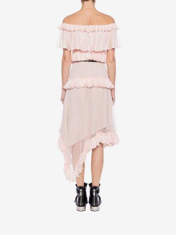 ALEXANDER MCQUEEN Off the Shoulder lace knit Ruffle mini Dress Mini Dress Woman e