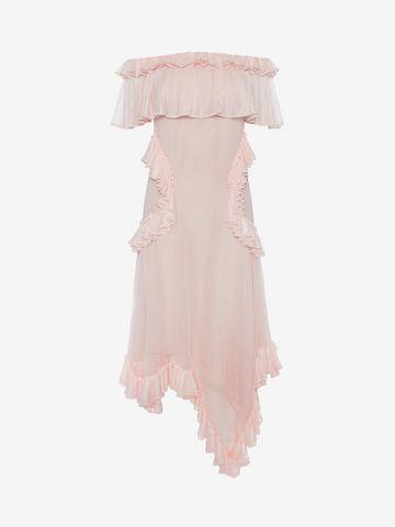 ALEXANDER MCQUEEN Off the Shoulder lace knit Ruffle mini Dress Mini Dress Woman f