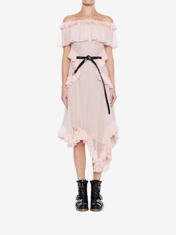 ALEXANDER MCQUEEN Off the Shoulder lace knit Ruffle mini Dress Mini Dress Woman r