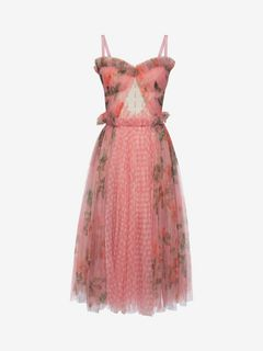 ALEXANDER MCQUEEN Mid-length Dress Woman Garden Rose Corset Dress f