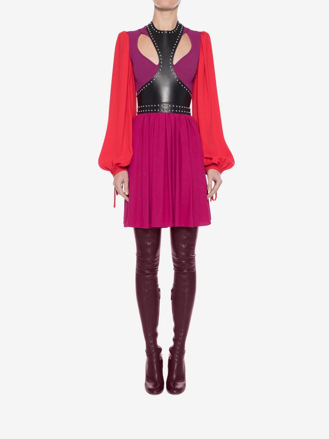 ALEXANDER MCQUEEN Colorblock Harness Mini Dress Mini Dress Woman r