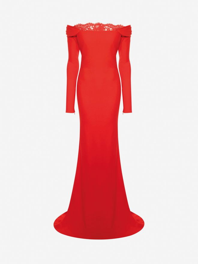 ALEXANDER MCQUEEN Off-The-Shoulder Evening Dress Long Dress Woman f