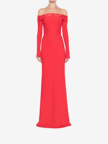ALEXANDER MCQUEEN Off-The-Shoulder Evening Dress Long Dress Woman r
