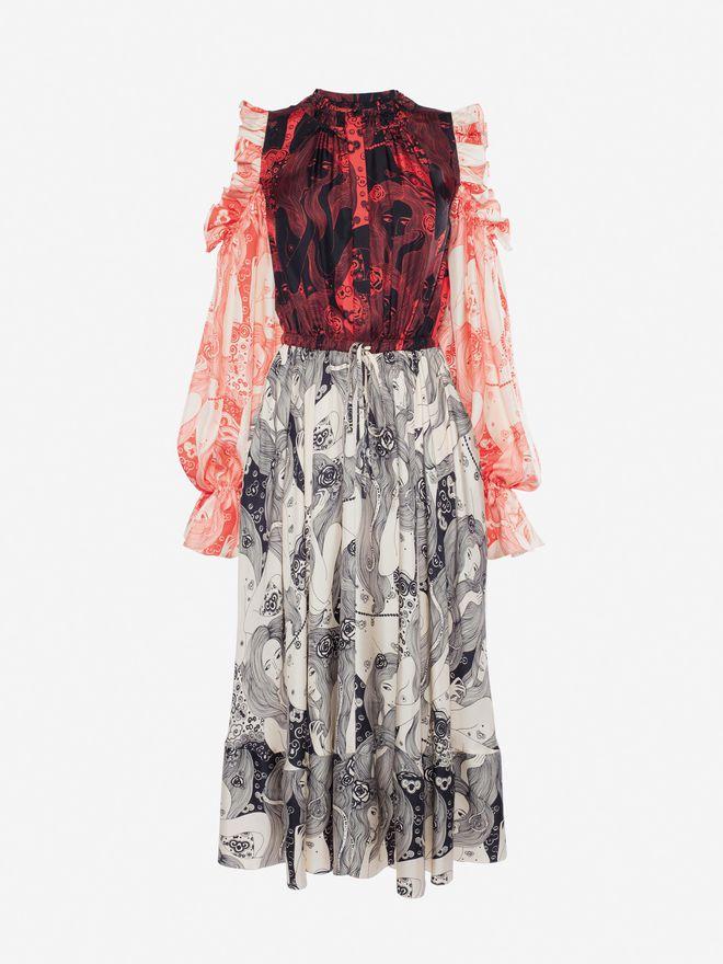 ALEXANDER MCQUEEN Eve Print Midi Dress Mid-length Dress Woman f
