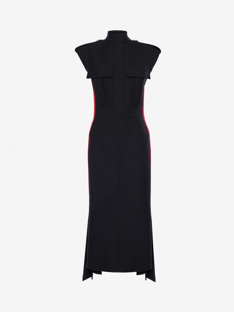 Grosgrain-Trimmed Wool-Blend Crepe Dress, Black