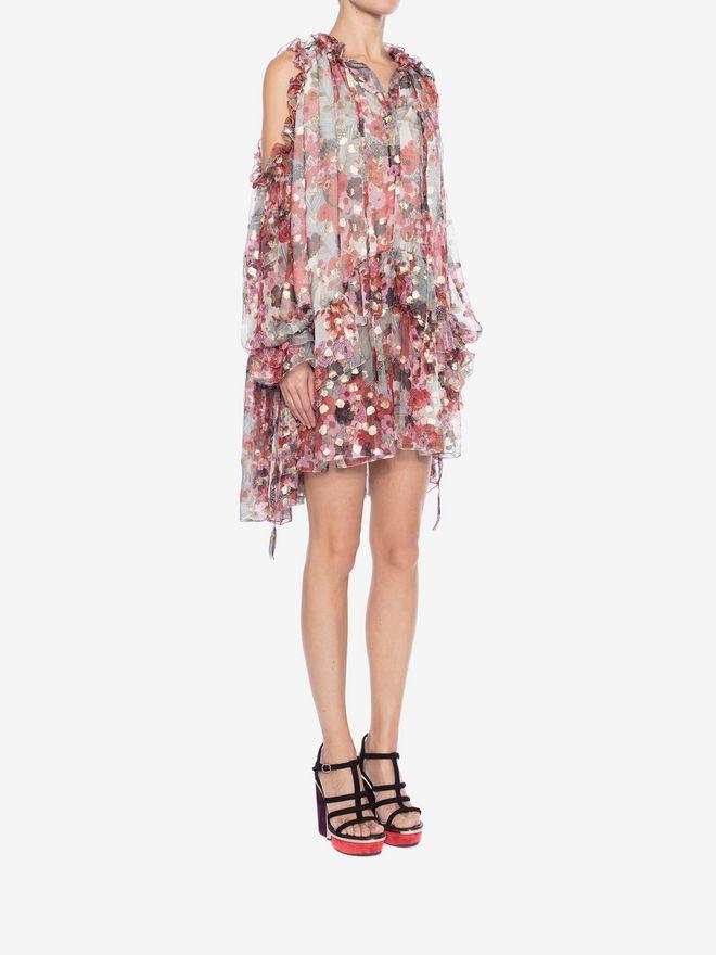 ALEXANDER MCQUEEN Feather Print Mini Dress Mini Dress Woman d