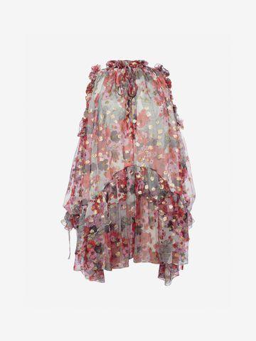 ALEXANDER MCQUEEN Feather Print Mini Dress Mini Dress Woman f