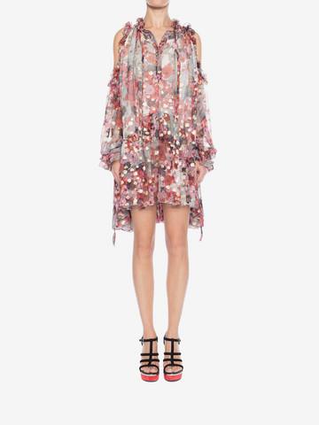 ALEXANDER MCQUEEN Feather Print Mini Dress Mini Dress Woman r