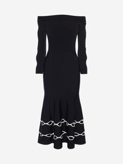 ALEXANDER MCQUEEN Mid-length Dress Woman Off-The-Shoulder Knit Dress f