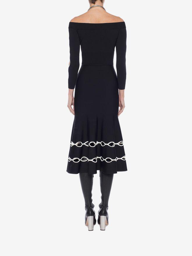 ALEXANDER MCQUEEN Off-The-Shoulder Knit Dress Mid-length Dress Woman e