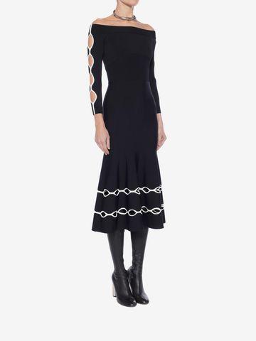 ALEXANDER MCQUEEN Off-The-Shoulder Knit Dress Mid-length Dress Woman d