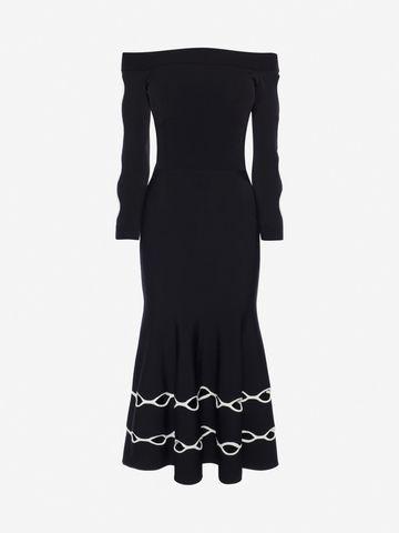 ALEXANDER MCQUEEN Off-The-Shoulder Knit Dress Mid-length Dress Woman f