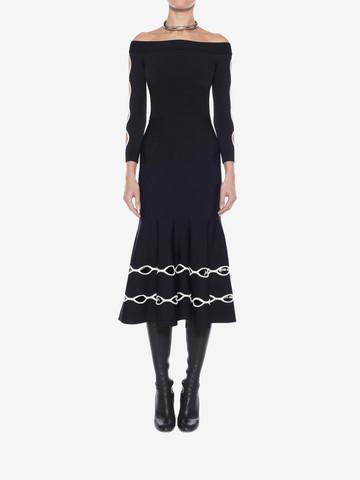 ALEXANDER MCQUEEN Off-The-Shoulder Knit Dress Mid-length Dress Woman r