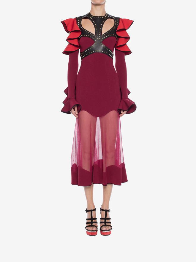 ALEXANDER MCQUEEN Harness Midi Knit Dress Mid-length Dress Woman r