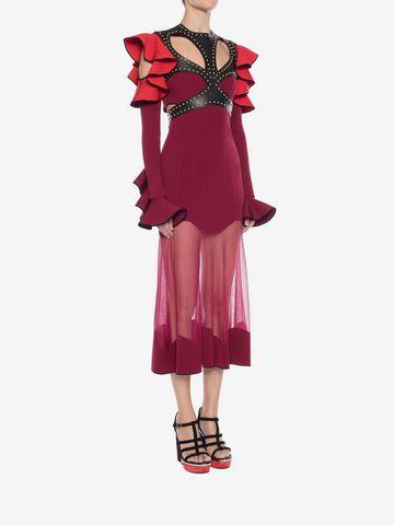 ALEXANDER MCQUEEN Harness Midi Knit Dress Mid-length Dress Woman d