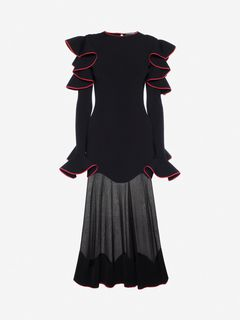 ALEXANDER MCQUEEN Mid-length Dress Woman Knitted Ruffle Midi Dress f