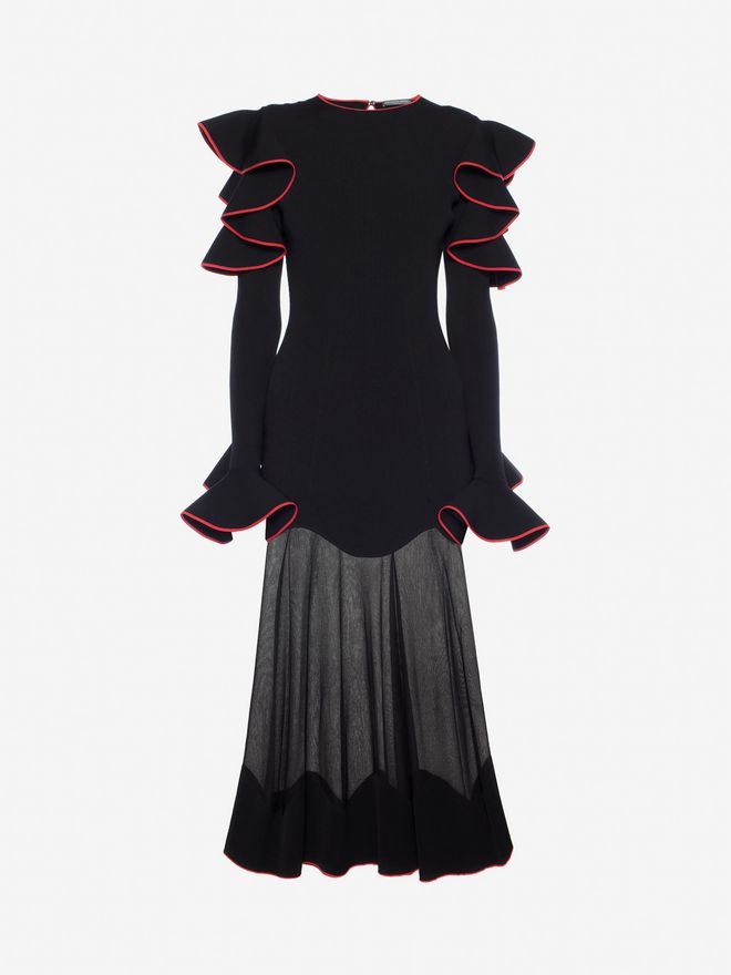 ALEXANDER MCQUEEN Knitted Ruffle Midi Dress Mid-length Dress Woman f