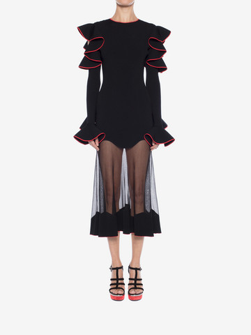 ALEXANDER MCQUEEN Knitted Ruffle Midi Dress Mid-length Dress Woman r