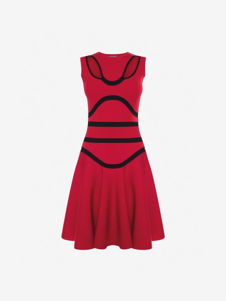 Bustier Knit Fit & Flare Dress, Red/Black
