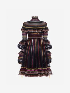 ALEXANDER MCQUEEN Mini Dress Woman Sheer Knit Mini Dress f
