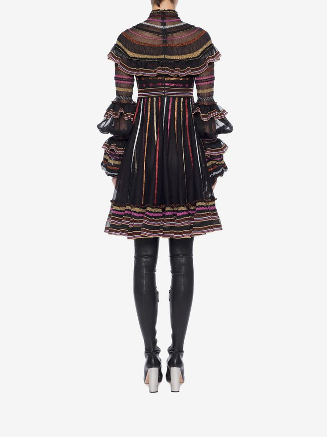 ALEXANDER MCQUEEN Sheer Knit Mini Dress Mini Dress Woman e