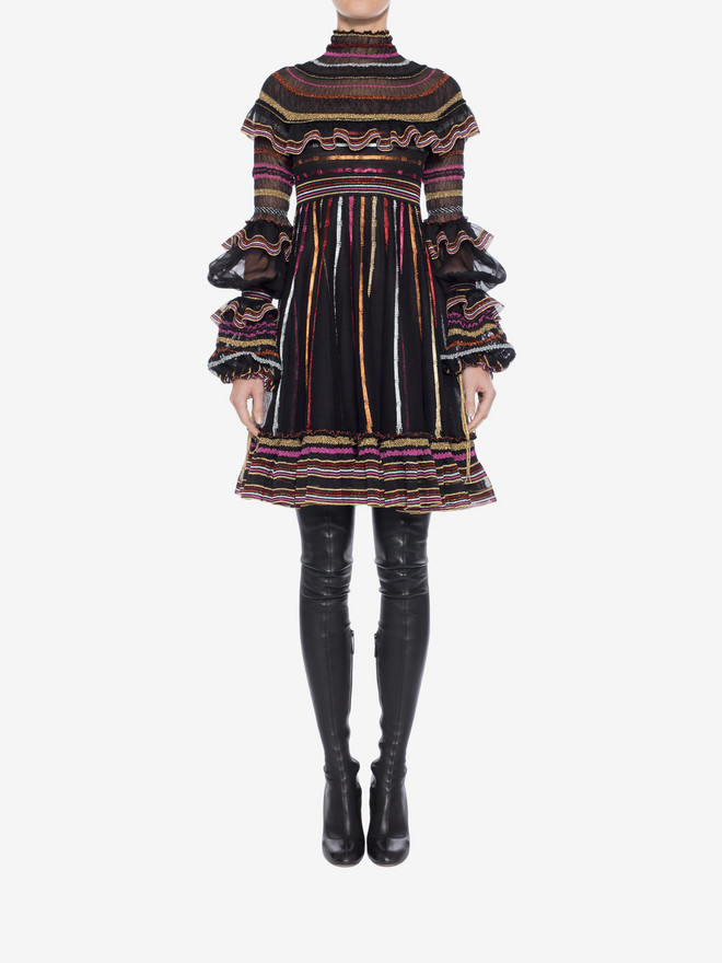 ALEXANDER MCQUEEN Sheer Knit Mini Dress Mini Dress Woman r
