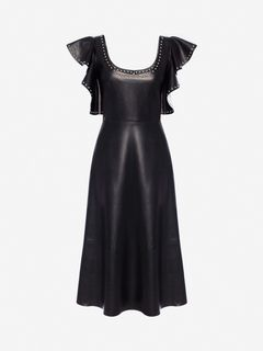 ALEXANDER MCQUEEN Mid-length Dress Woman Leather Ruffle Midi Dress f