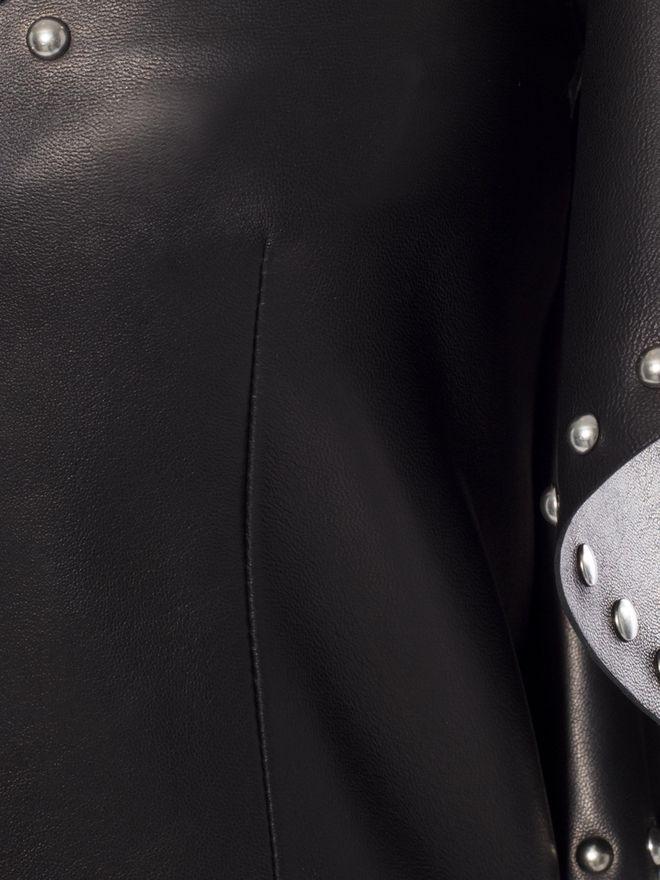 ALEXANDER MCQUEEN Leather Ruffle Midi Dress Mid-length Dress Woman a
