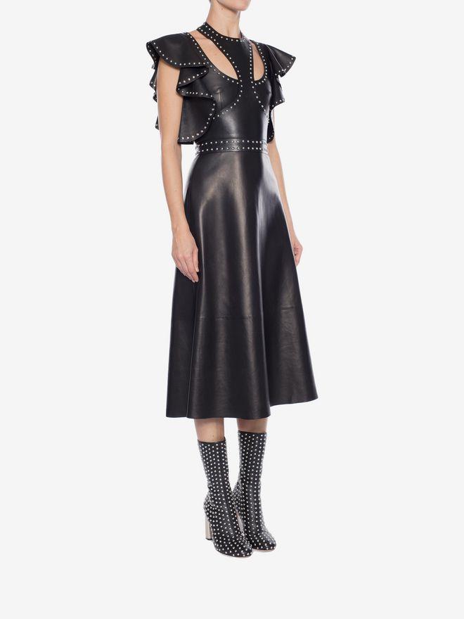 ALEXANDER MCQUEEN Leather Ruffle Midi Dress Mid-length Dress Woman d