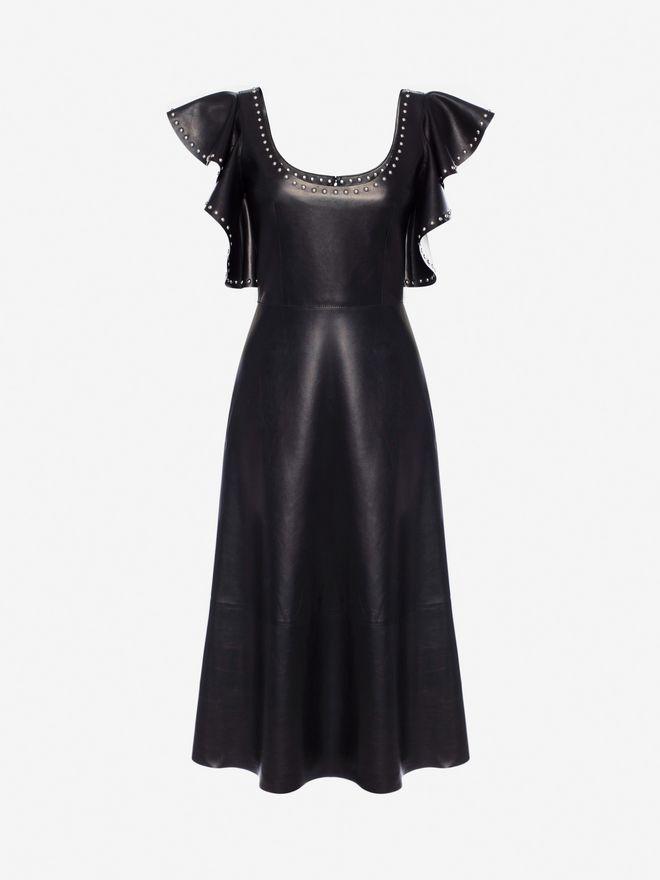 ALEXANDER MCQUEEN Leather Ruffle Midi Dress Mid-length Dress Woman f