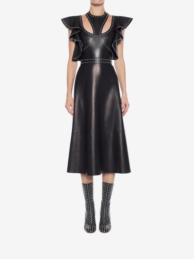ALEXANDER MCQUEEN Leather Ruffle Midi Dress Mid-length Dress Woman r