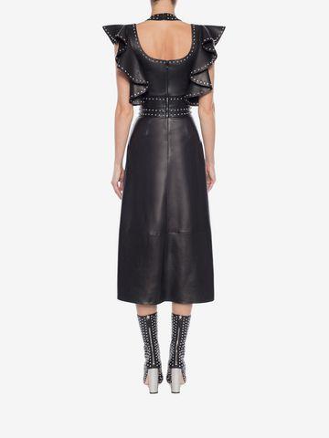 ALEXANDER MCQUEEN Leather Ruffle Midi Dress Mid-length Dress Woman e