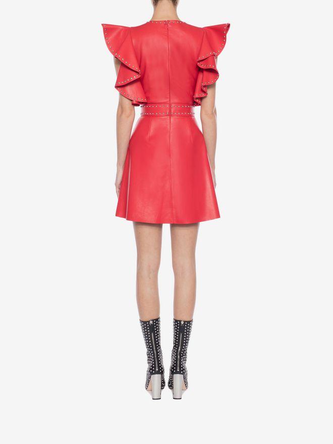 ALEXANDER MCQUEEN Leather Ruffle Mini Dress Mini Dress Woman e