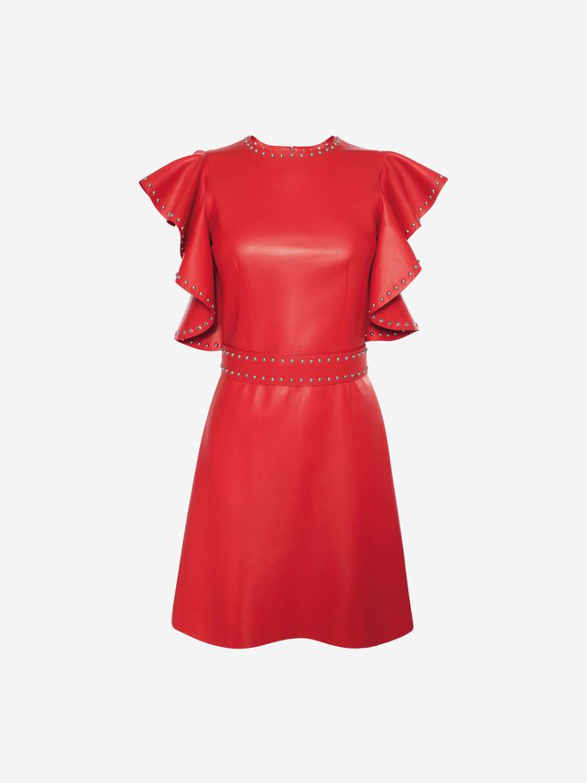 ALEXANDER MCQUEEN Leather Ruffle Mini Dress Mini Dress Woman f