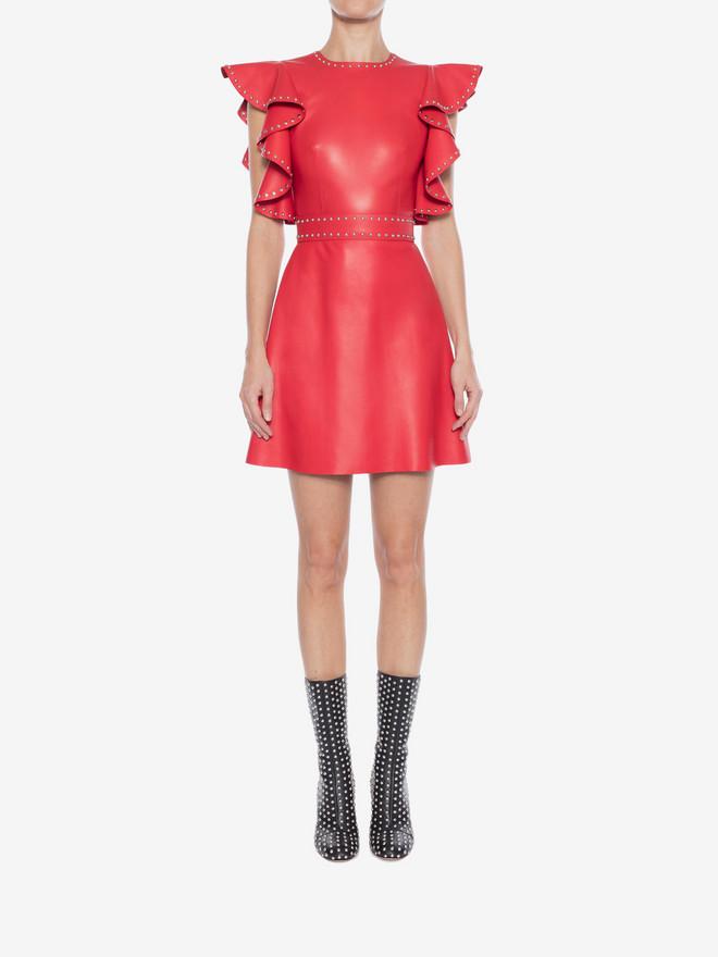 ALEXANDER MCQUEEN Leather Ruffle Mini Dress Mini Dress Woman r