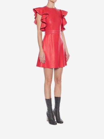 ALEXANDER MCQUEEN Leather Ruffle Mini Dress Mini Dress Woman d