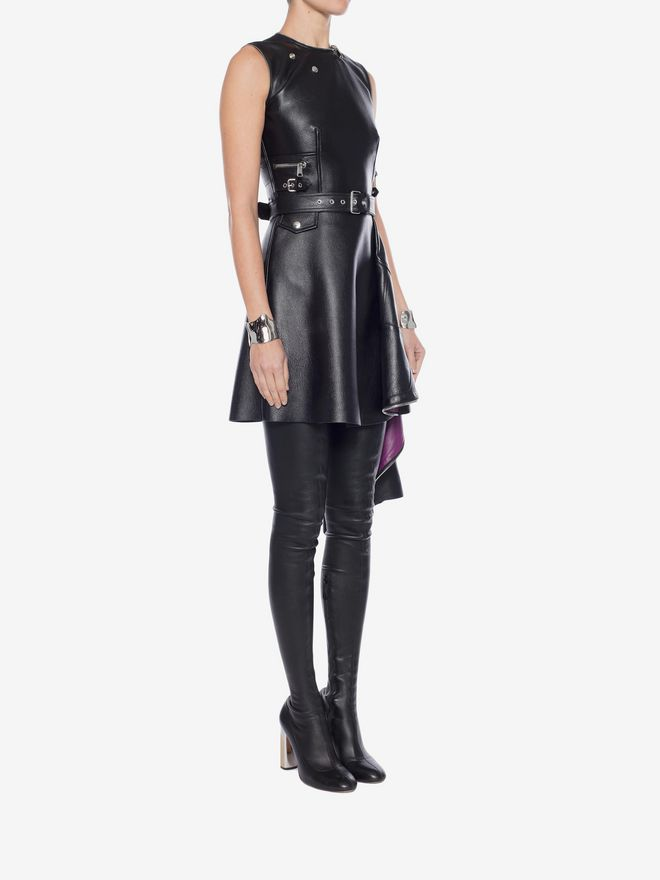 ALEXANDER MCQUEEN Leather Peplum Mini Dress Mini Dress Woman d