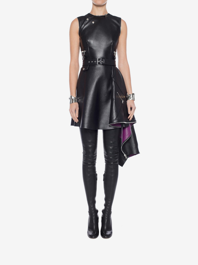 ALEXANDER MCQUEEN Leather Peplum Mini Dress Mini Dress Woman r
