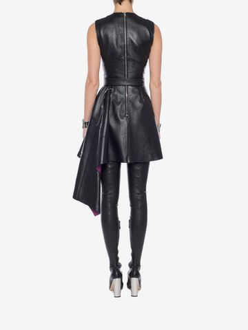 ALEXANDER MCQUEEN Leather Peplum Mini Dress Mini Dress Woman e