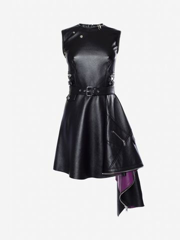 ALEXANDER MCQUEEN Leather Peplum Mini Dress Mini Dress Woman f