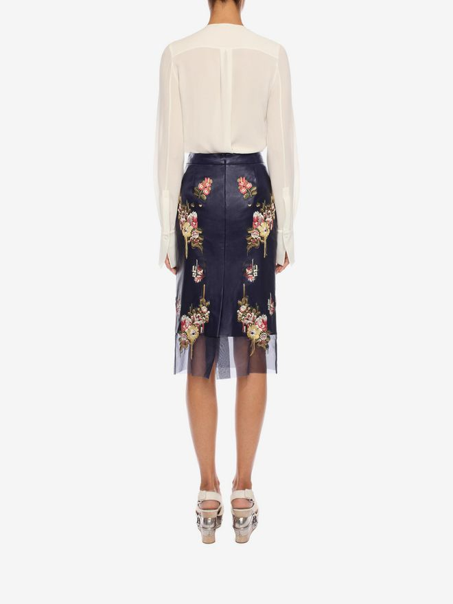 ALEXANDER MCQUEEN Glove Leather Floral Skirt Skirt Woman e