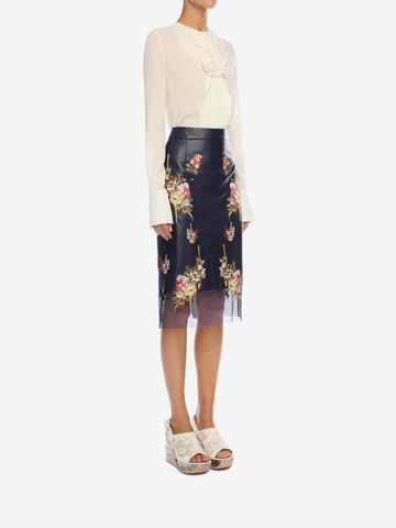 ALEXANDER MCQUEEN Glove Leather Floral Skirt Skirt Woman d