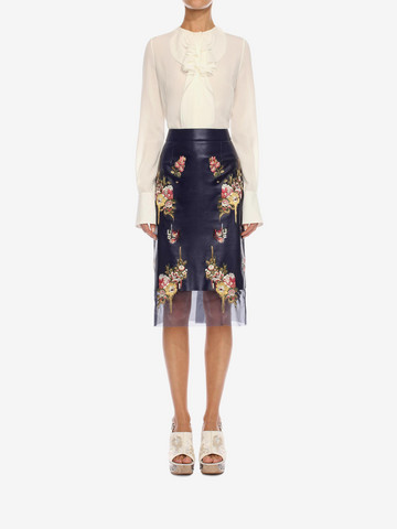 ALEXANDER MCQUEEN Glove Leather Floral Skirt Skirt Woman r