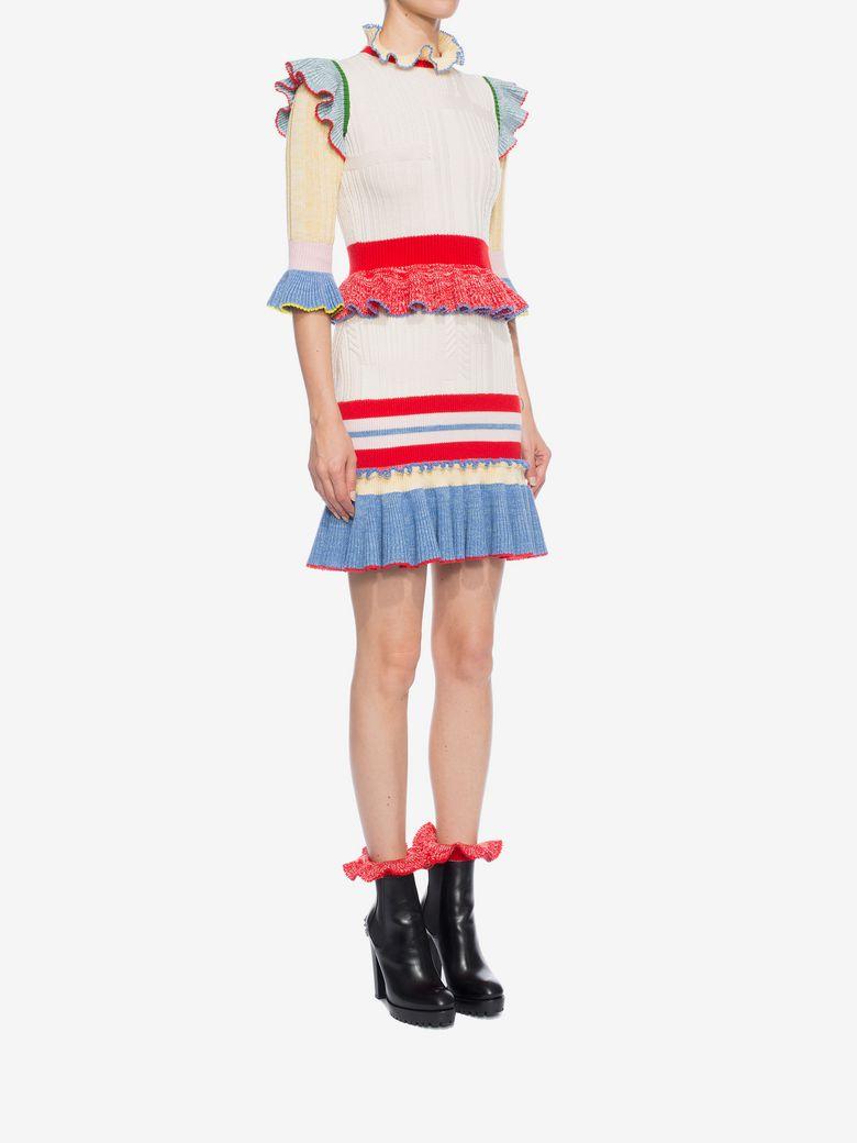 ALEXANDER MCQUEEN Ruffled-Hem Striped Wool And Silk-Blend Skirt