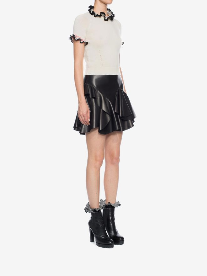 ALEXANDER MCQUEEN Ruffled Lambskin Leather Skirt Skirt Woman d