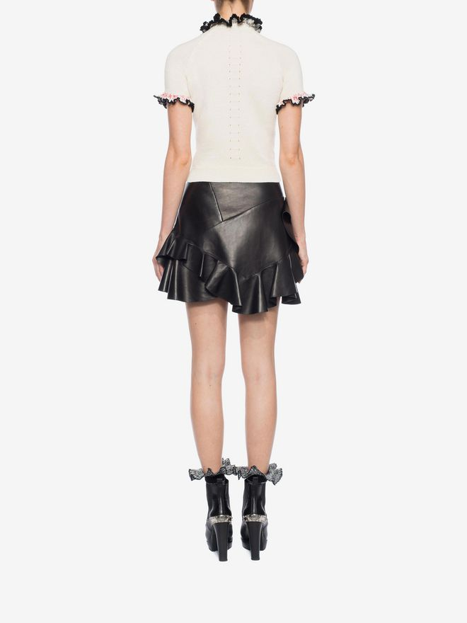 ALEXANDER MCQUEEN Ruffled Lambskin Leather Skirt Skirt Woman e