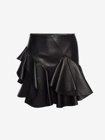 ALEXANDER MCQUEEN Ruffled Lambskin Leather Skirt Skirt Woman f